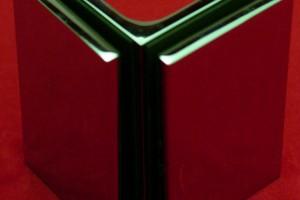 KL assemblage d'angle chromé poli verre - verre 90°
